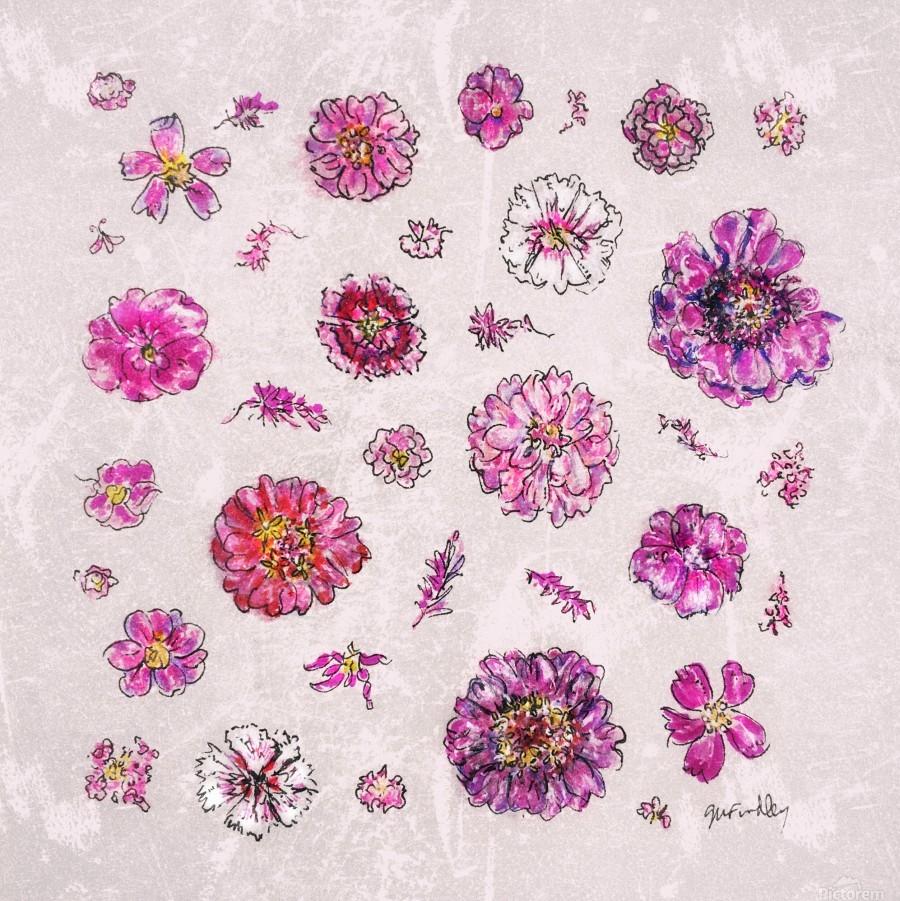 Pink Flowers Gerri Findley Canvas