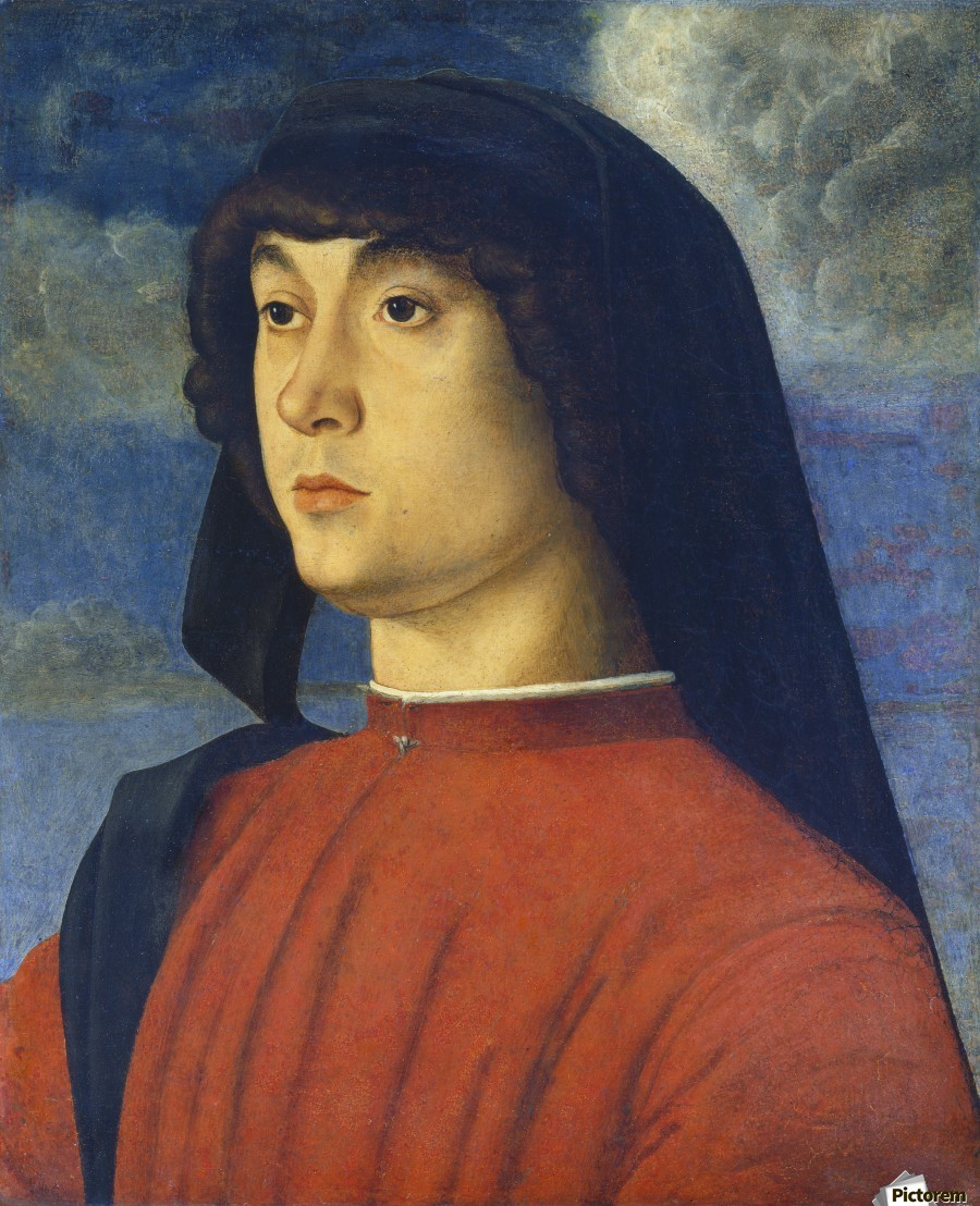 Giovanni Bellini Portrait Young Man Red  Print