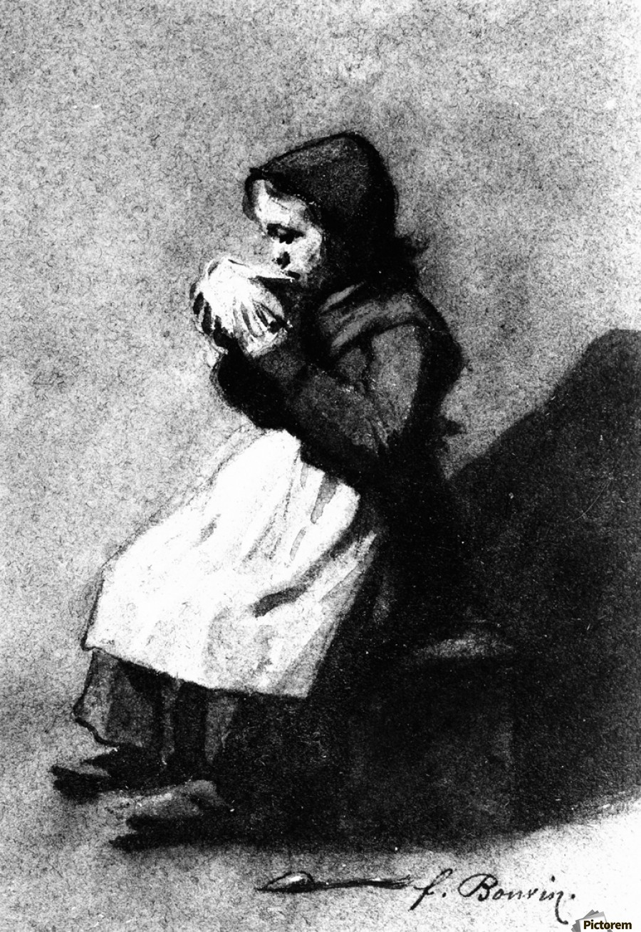 Girl Drinking from a Bowl  Print
