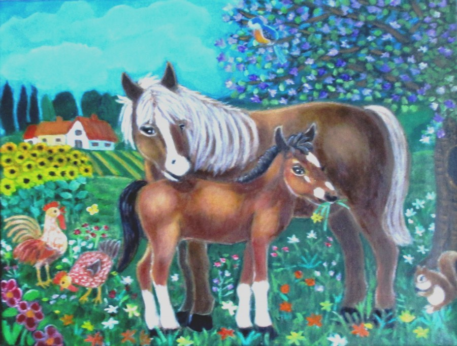 A mare and her foal.  Print