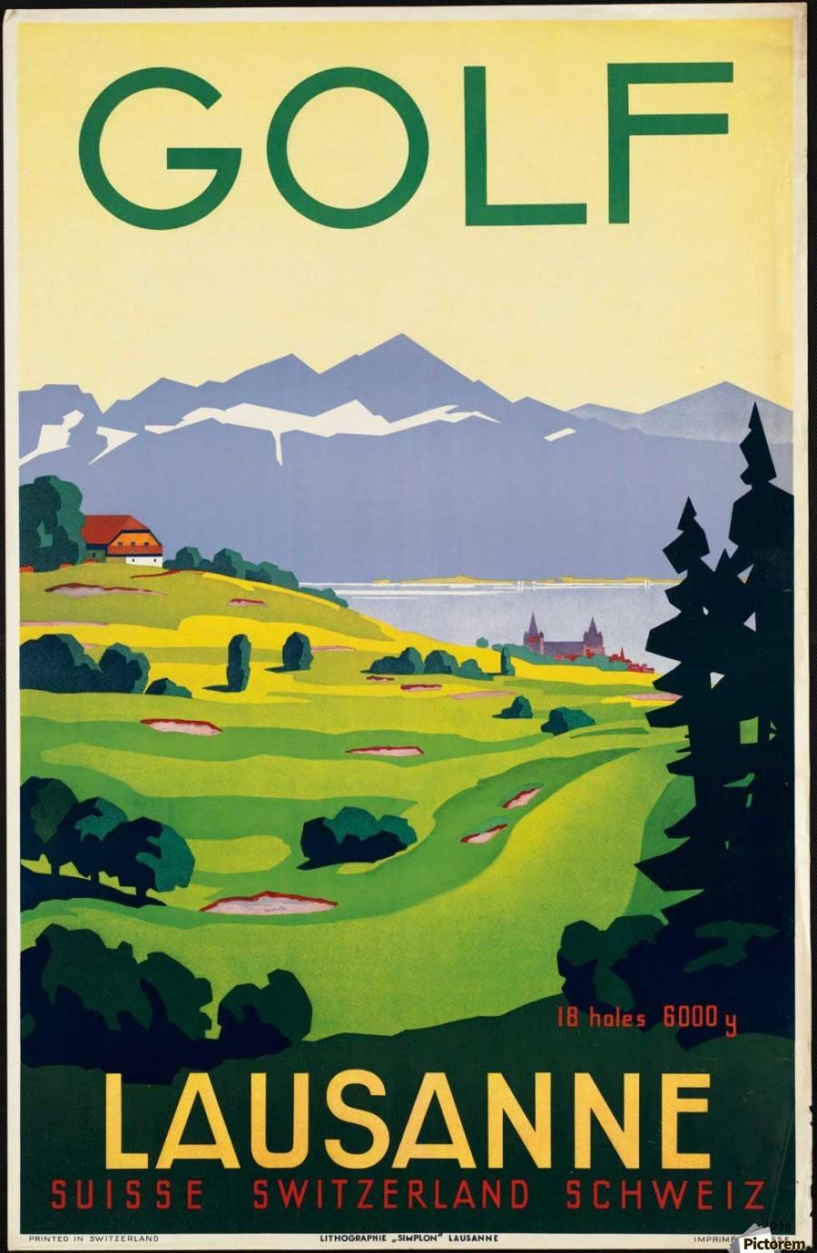 Golf Lausanne Vintage Poster - VINTAGE POSTER Canvas
