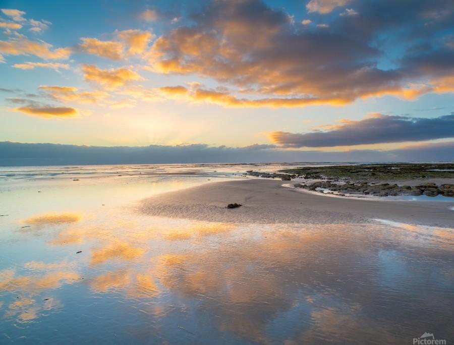 Beach sunrise reflected on the wet sand  Print