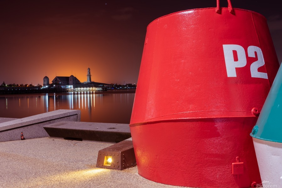 Orange lights with Geelong Pier and Buoys  Print