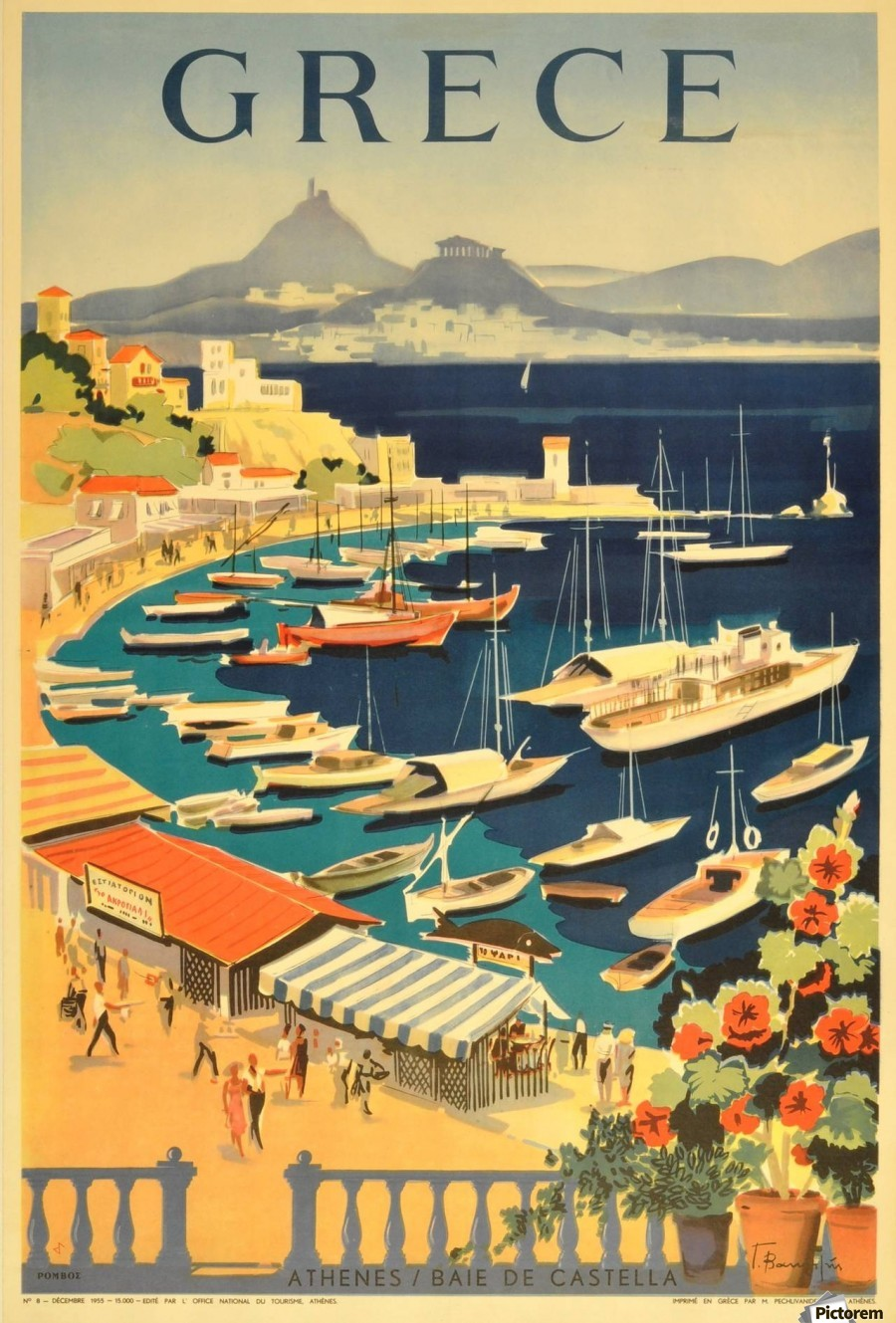 Greece original vintage travel poster - VINTAGE POSTER Canvas