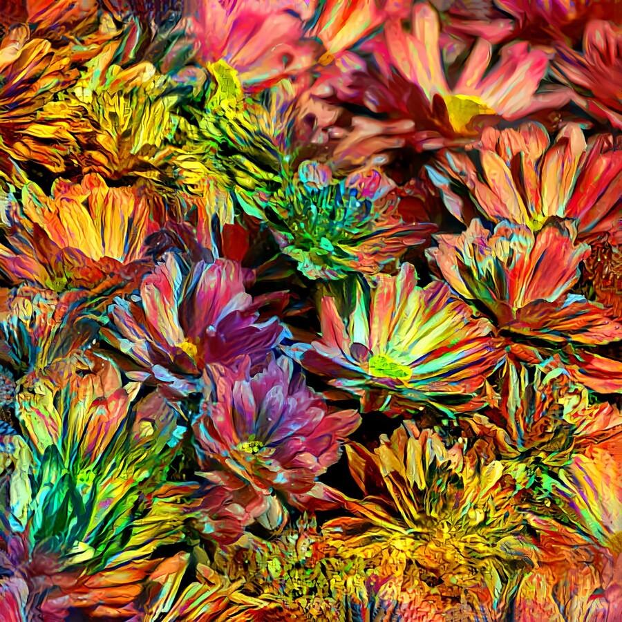 Rainbow Floral  Print