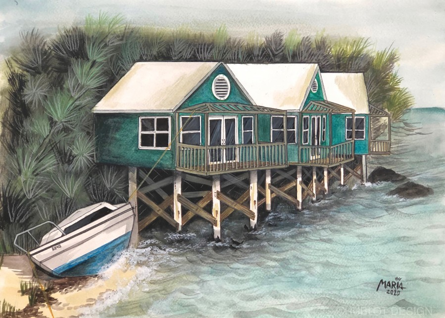 Collection BERMUDA- Stilt house  Imprimer