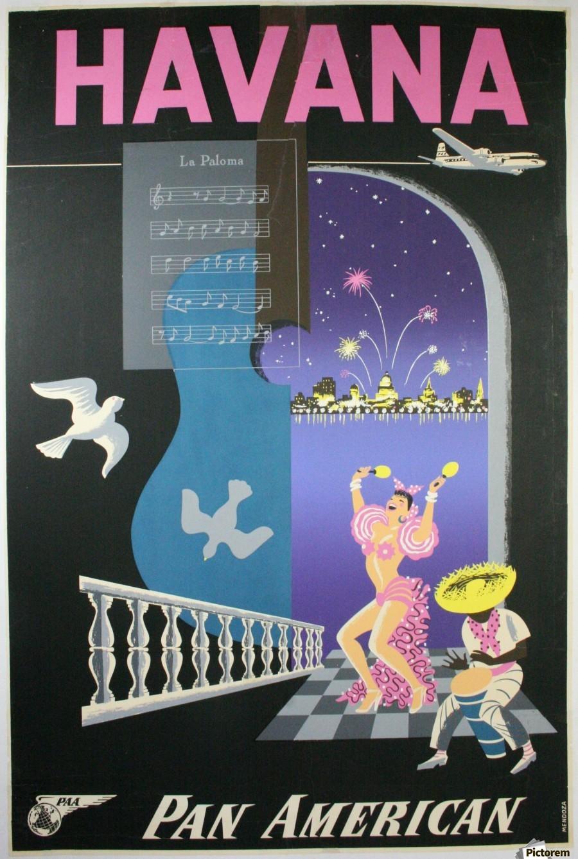 Havana Pan American Travel Poster - VINTAGE POSTER Canvas