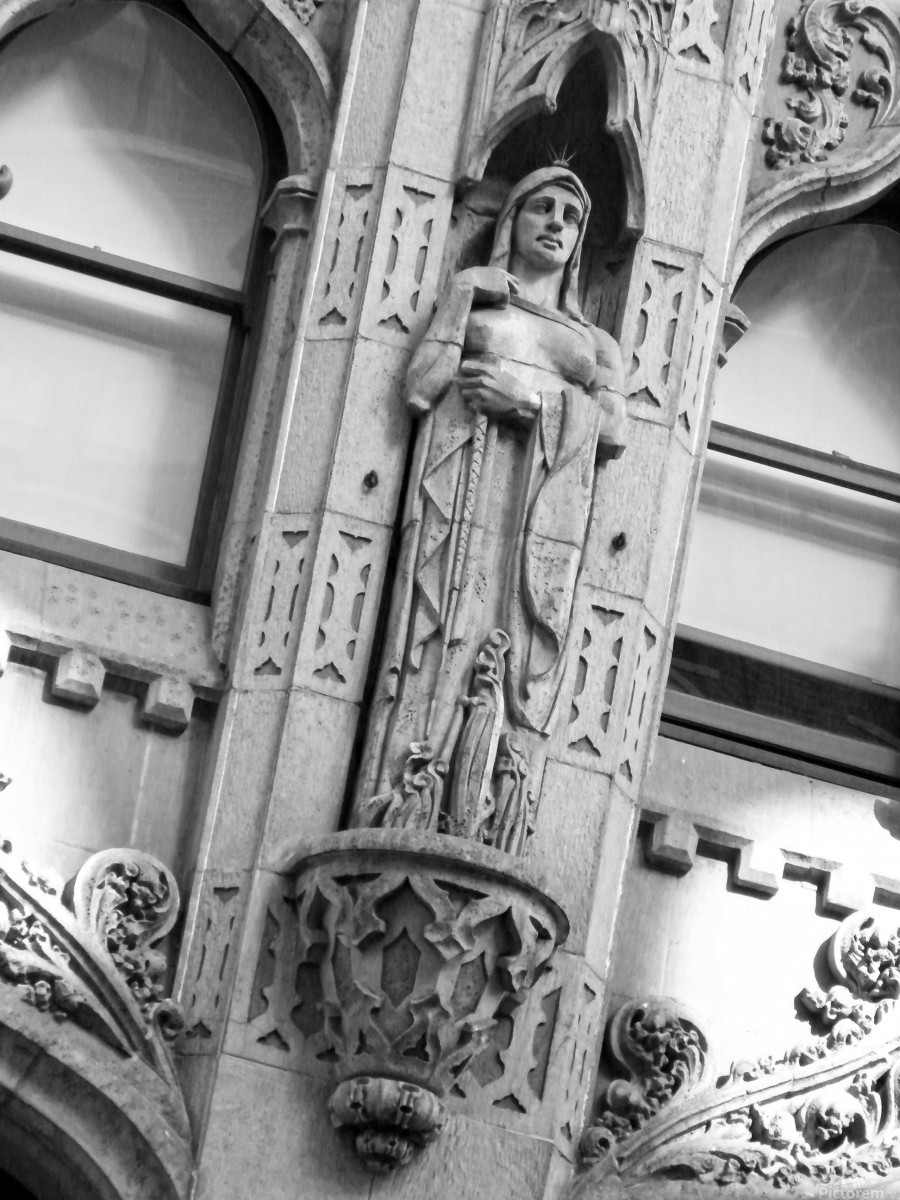 Caped Woman in Stone - B&W  Print