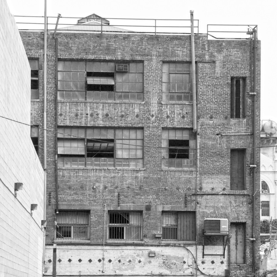 B&W Brick & Windows In Alley - DTLA   Print