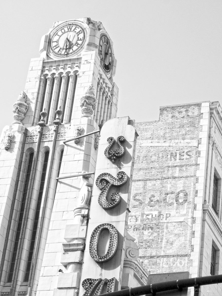 B&W Tower Theatre Clock - DTLA  Print