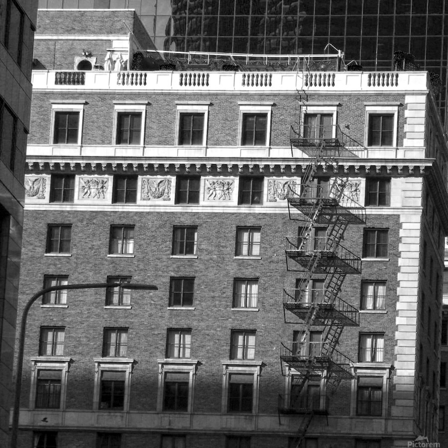B&W Building Corner Figueroa and 6th Street  Print