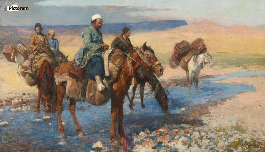 Horses at the Ford-Persia  Print