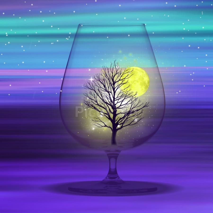 Landscape in a glass.  Print