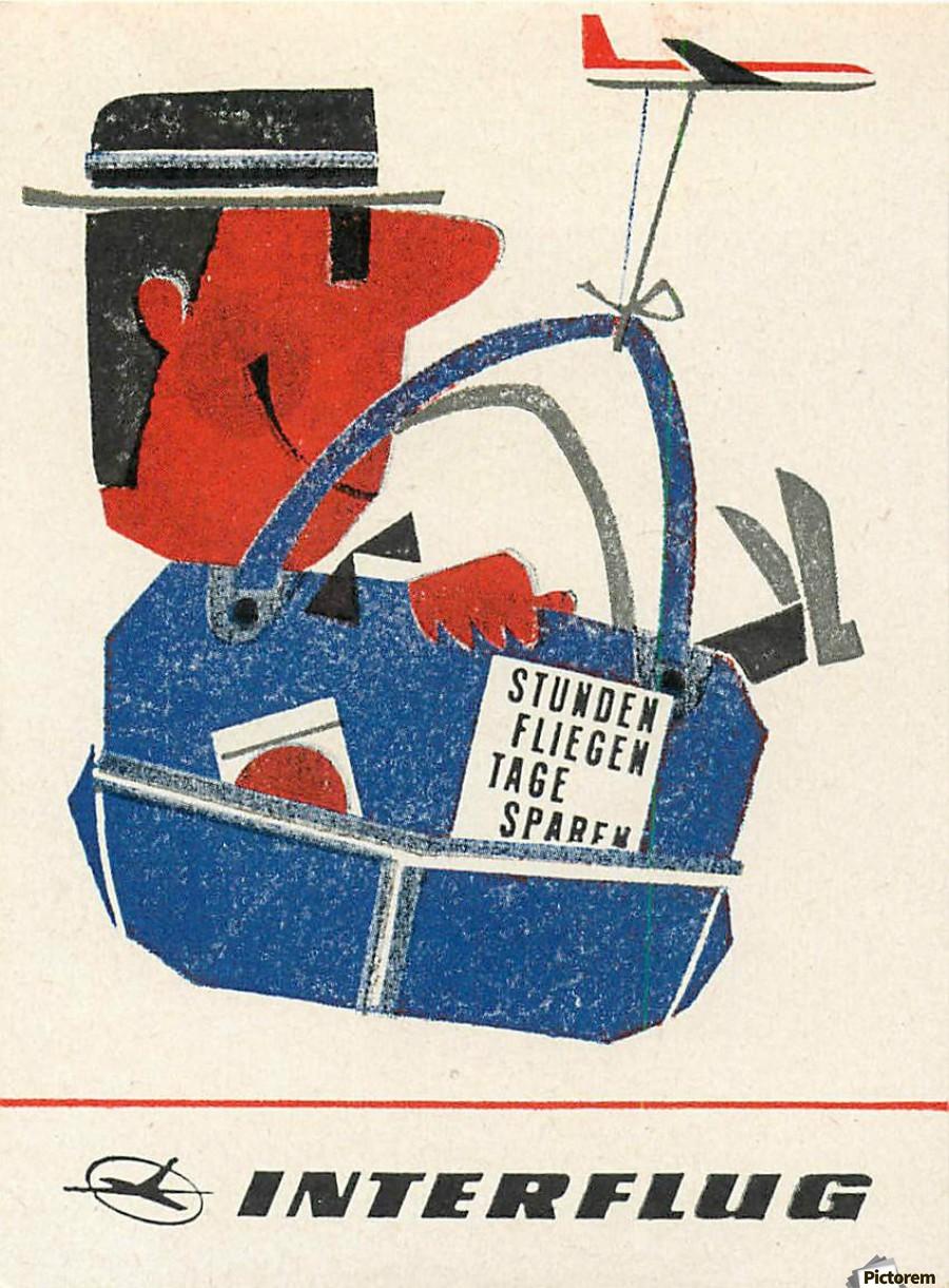 Interflug The East German Airline Vintage Poster
