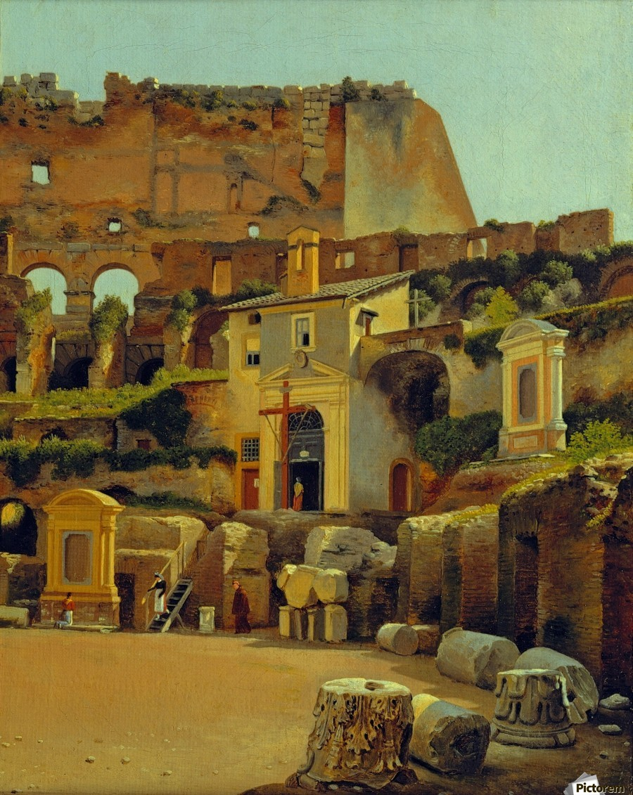 Interior of the Colosseum in Rome  Print