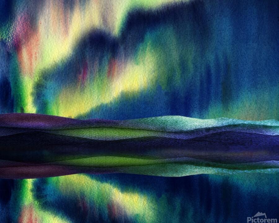 Aurora Borealis Magic Reflections Northern Lake Lights Watercolor  Print