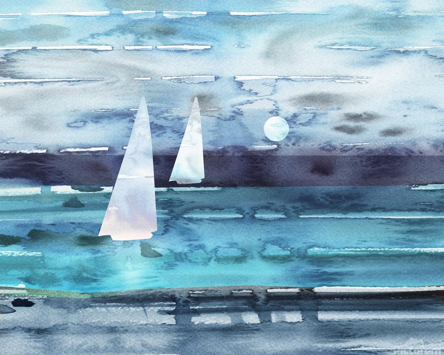 Beach House Art Sailboats At The Ocean Shore Seascape Painting XII  Print
