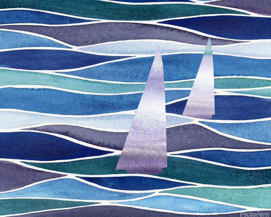 Sailboats At The Ocean Shore Seascape Painting Beach House Art Decor XIV  Print