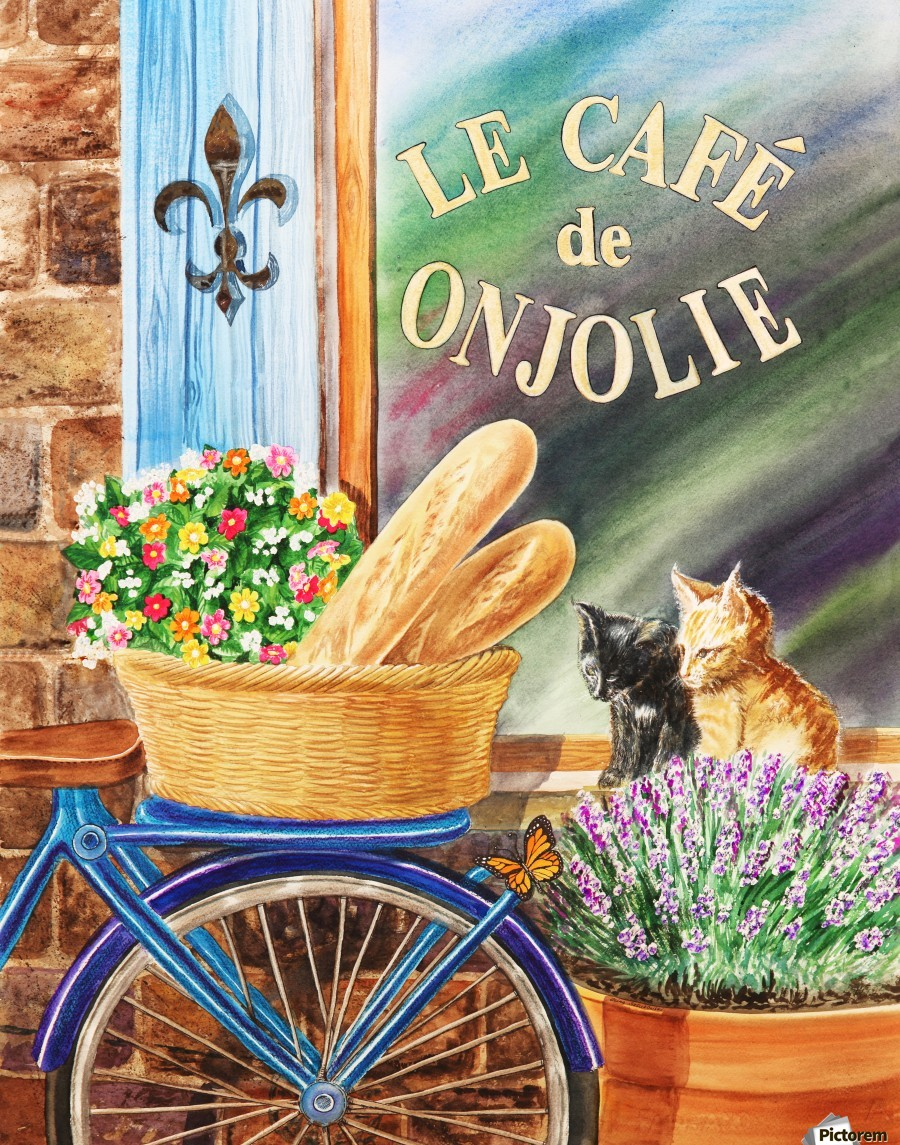 Bicycle With Basket At The Cafe Window  Print