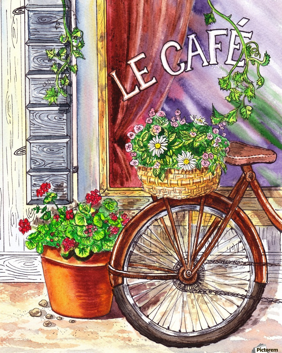 French Cafe And Bicycle With Basket  Print