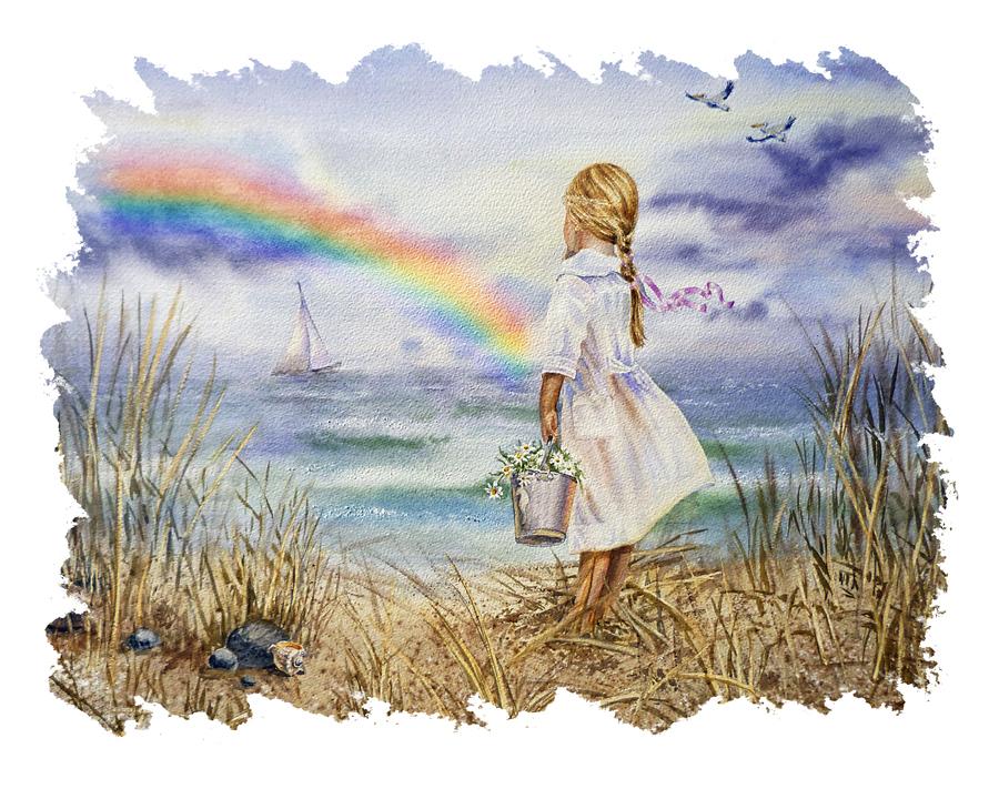 Girl Ocean Rainbow Boat And Birds Beach House Style Art  Print
