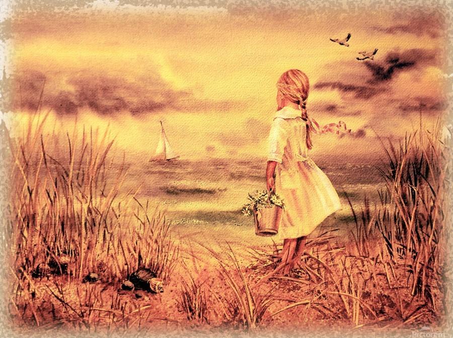 Vintage Watercolor Painting Girl And Ocean  Print