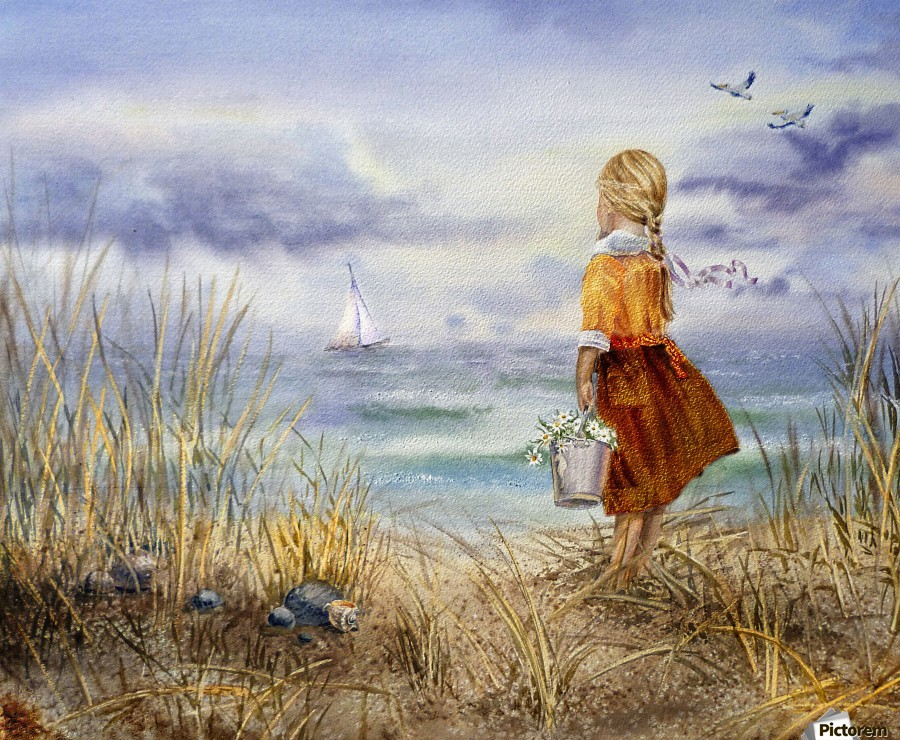 Girl And The Ocean  Print