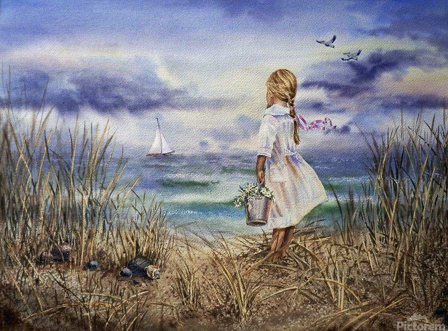 Girl At The Ocean Beach Art Painting  Print