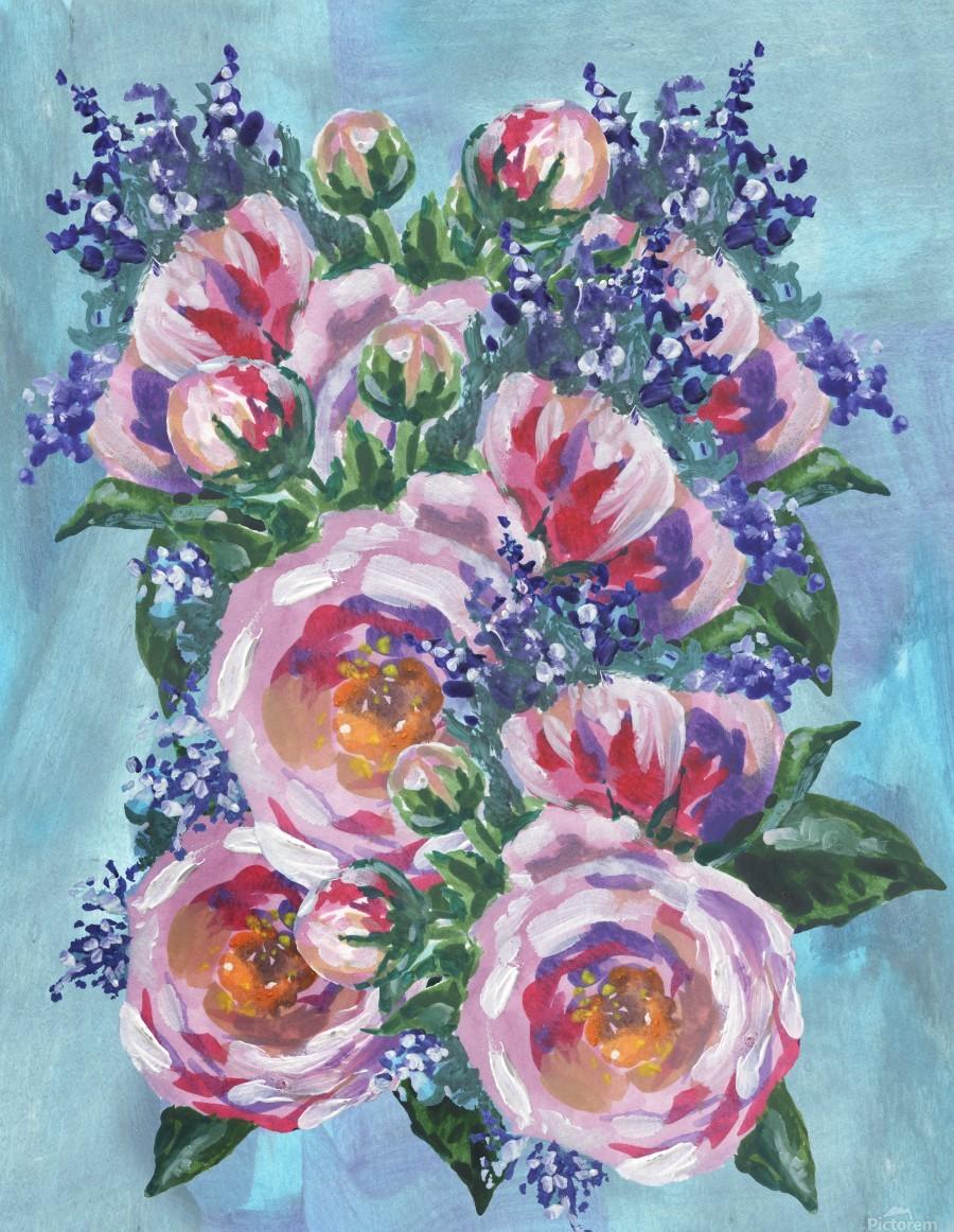 Beautiful Impressionistic Flowers  Print