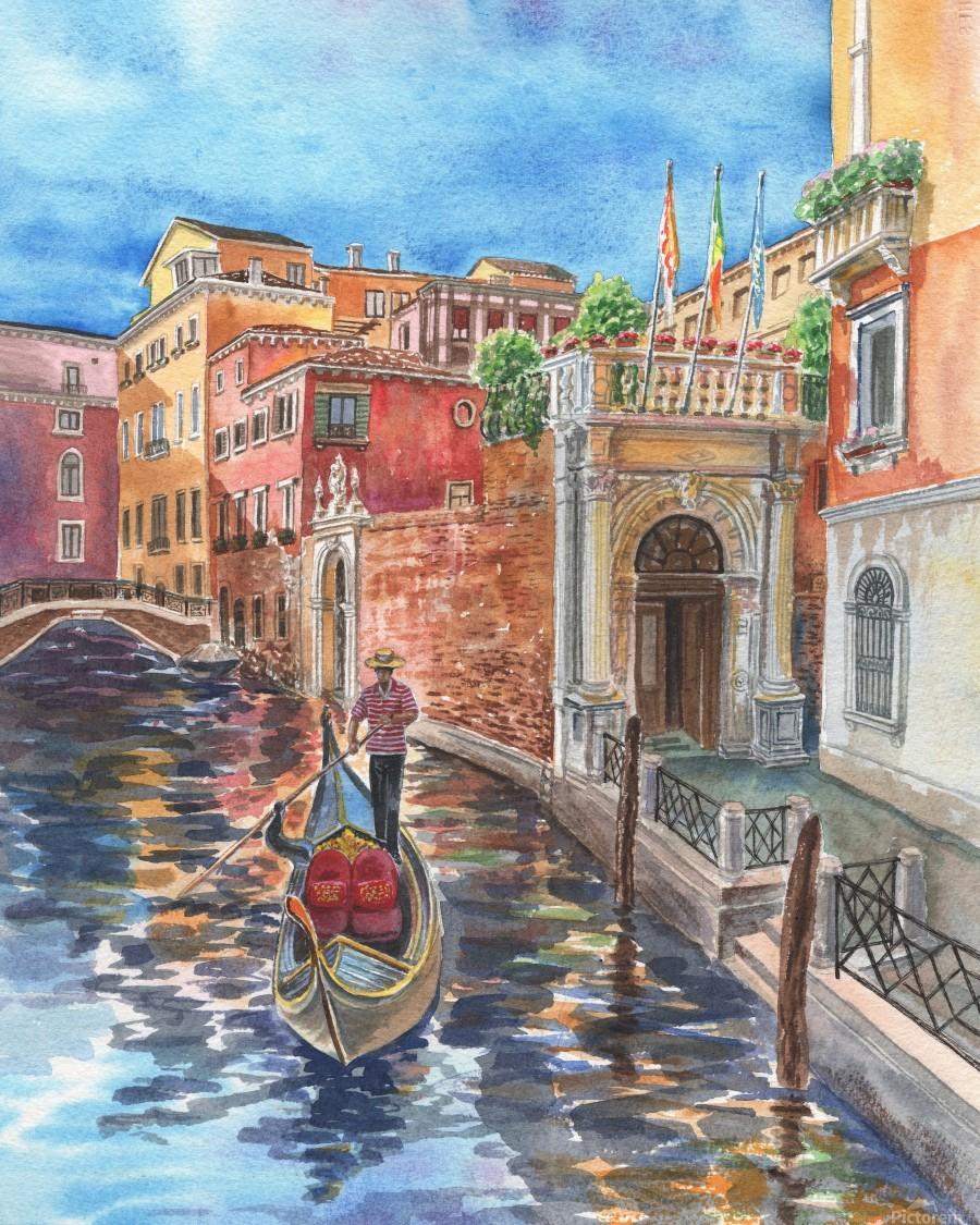 Venice Canal And Gondolier Italian City Landscape   Print