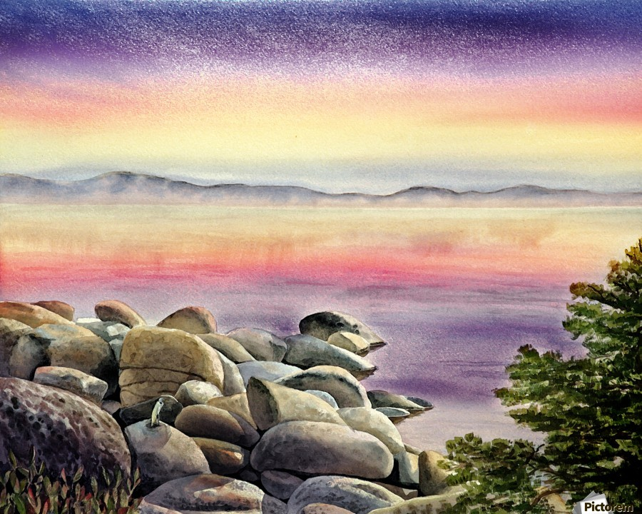 Purple Sunset At The Lake  Print