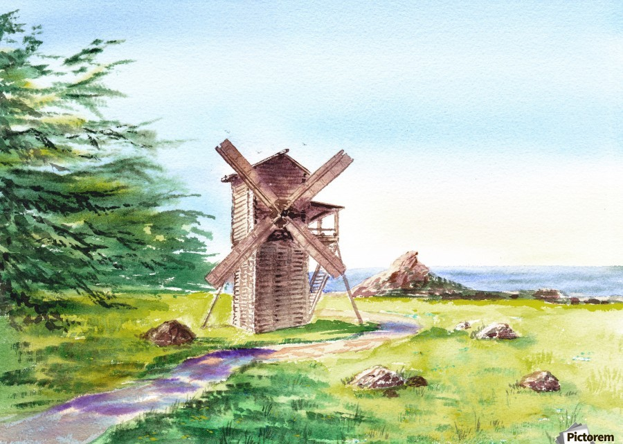 Landscapes Of California Fort Ross Windmill  Print