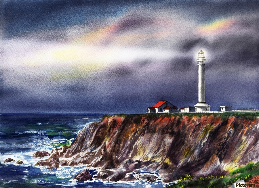 Lighthouse Point Arena At Night  Print
