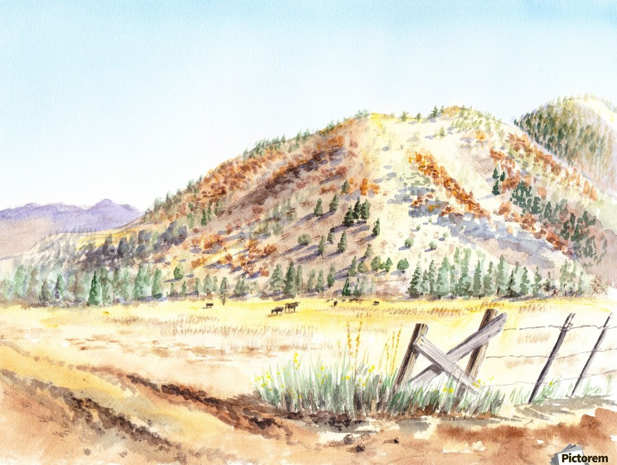 Landscape With Mountains Ranch And Cows  Print