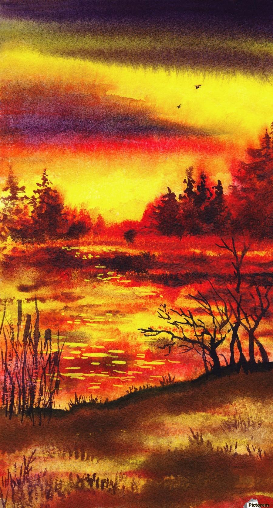 Bright Sunset At The Lake  Print