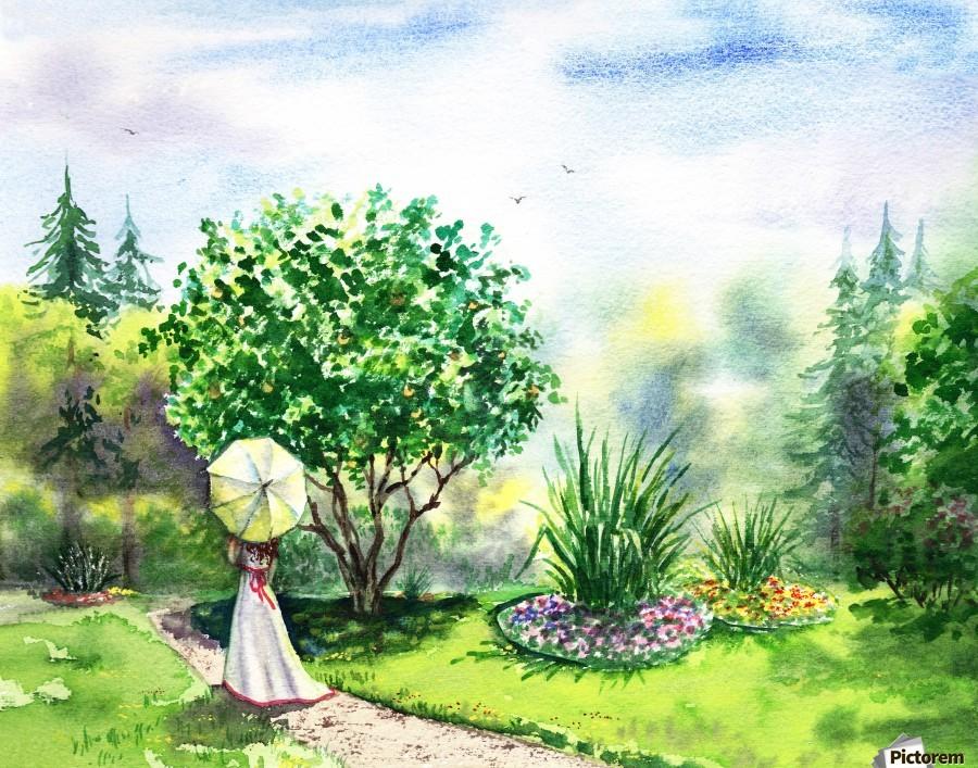 Strolling In The Garden  Print
