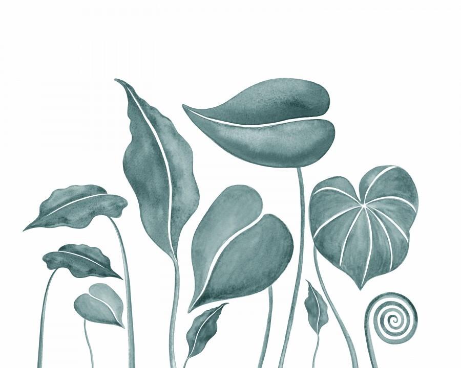 Tropical Leaves Teal Gray Botanical Foliage Watercolor   Print