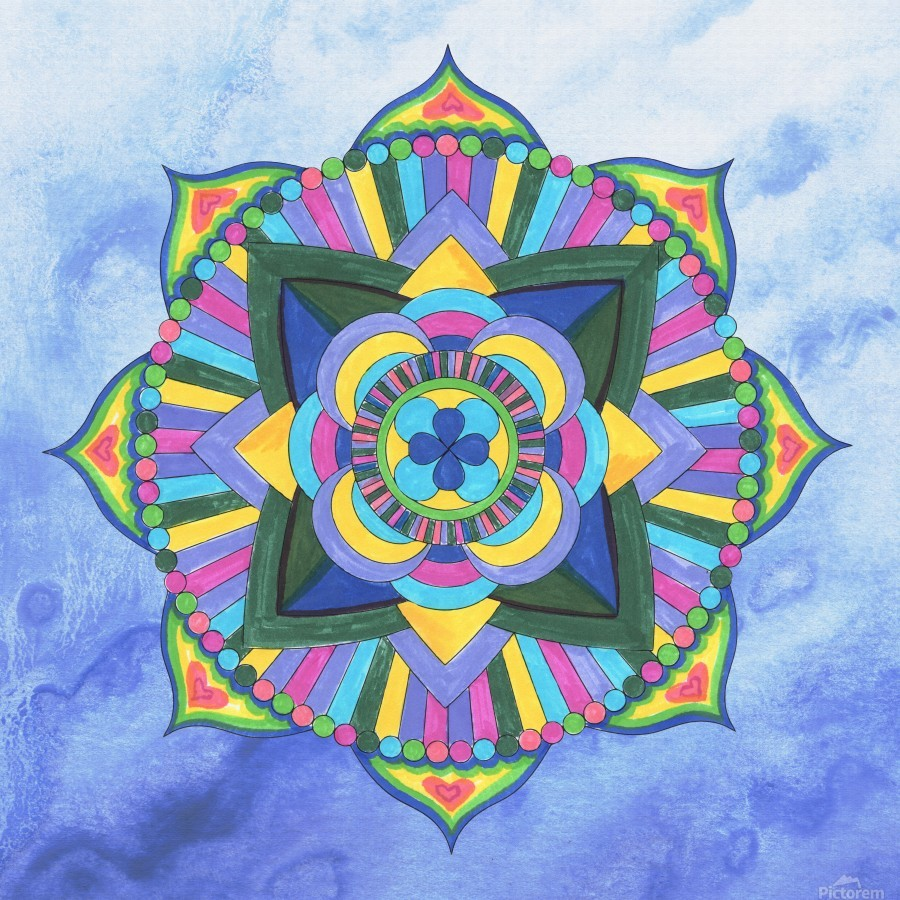 Hand Painted Mandala Watercolor Meditation on Blue  Print