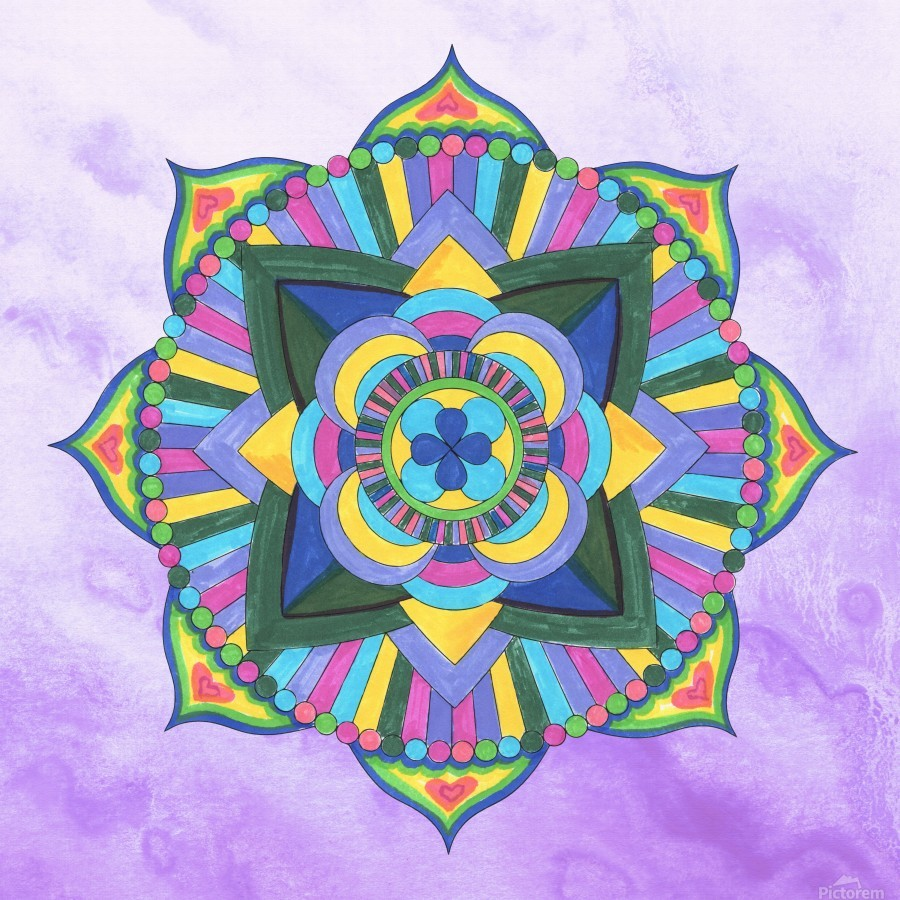 Hand Painted Mandala Watercolor Meditation on Purple  Print