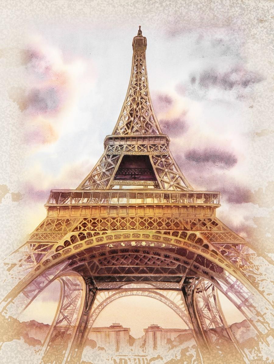 Vintage Paris Eiffel Tower Watercolor Painting  Print