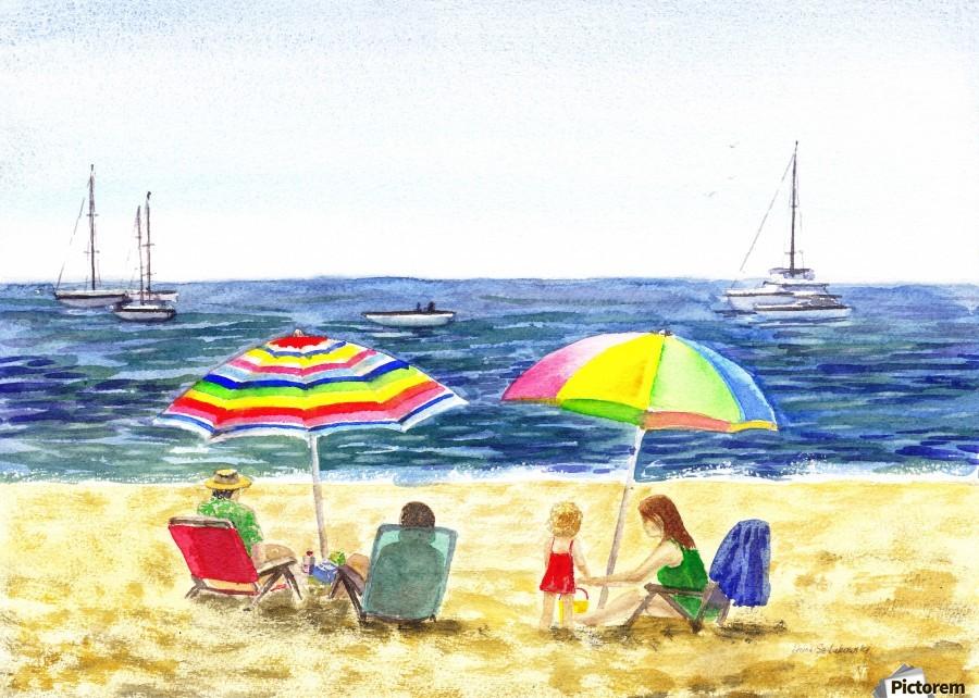 Two Umbrellas On The Beach  Print