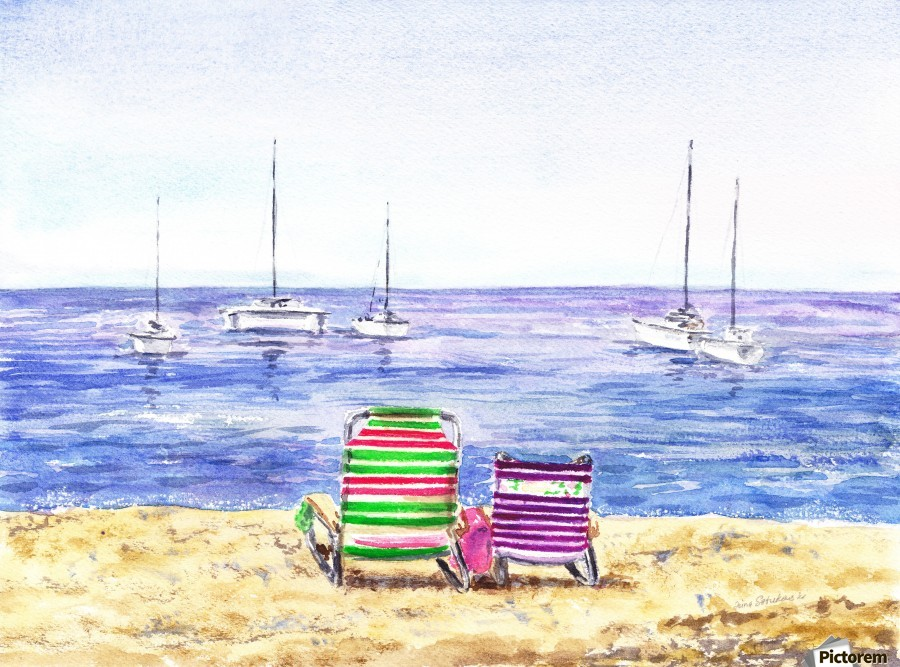 Two Chairs On The Beach  Print
