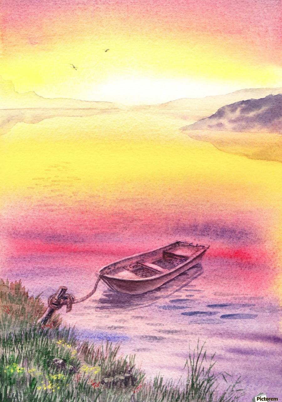 Sunrise At The Lake  Print