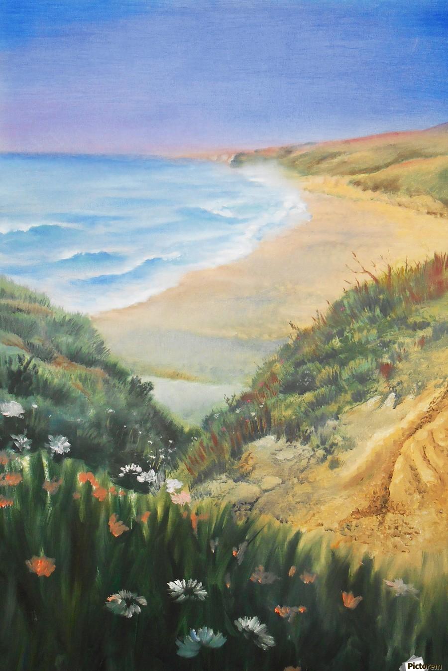Ocean Shore Through The Hills  Print
