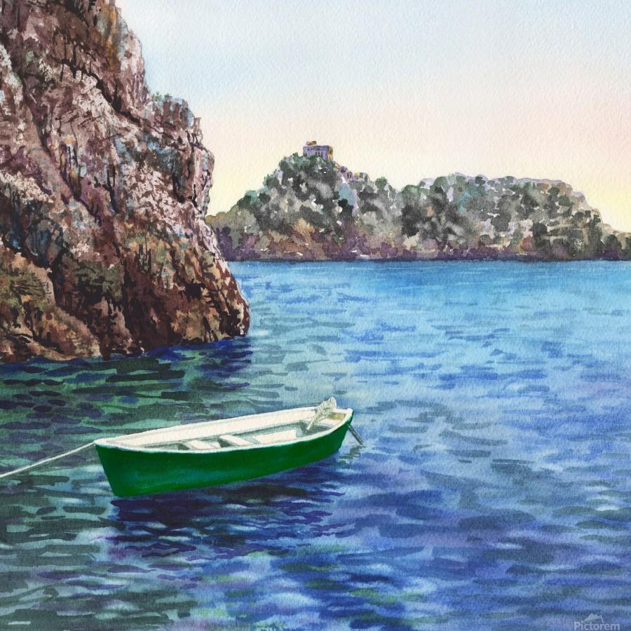 Green Boat Blue Sea Grotto Emeraldo Harbor   Print