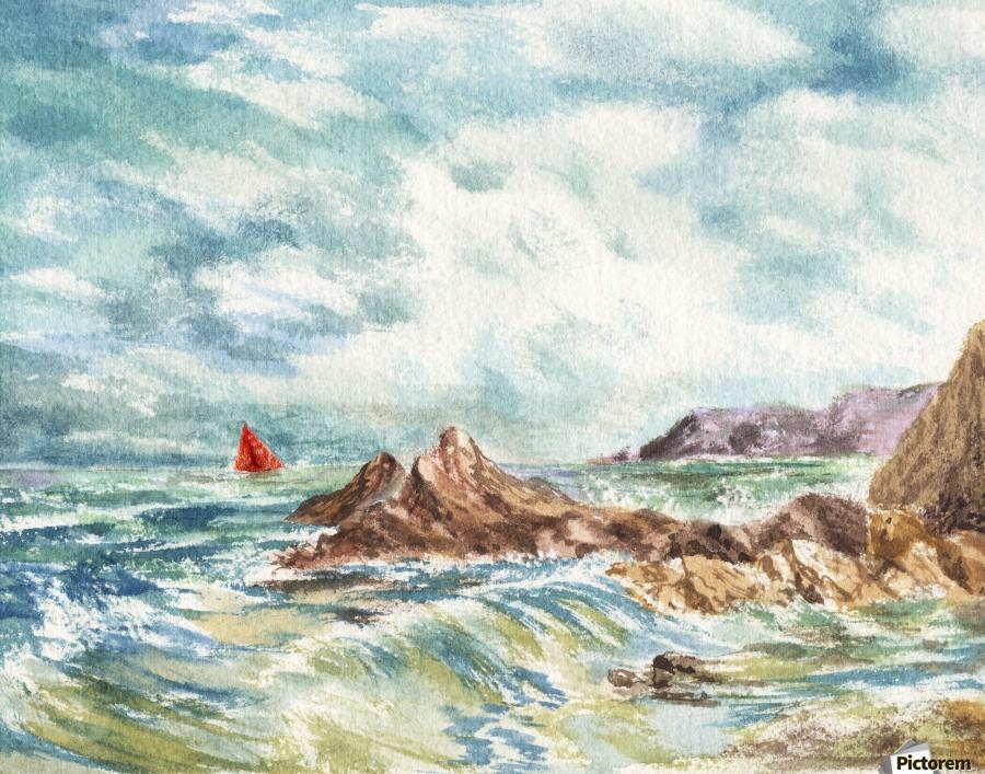Red Sails At The Shore  Print