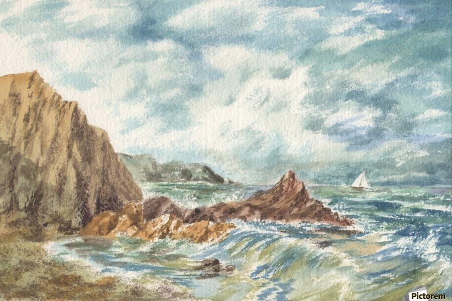 Vintage Storm At Rocky Shore  Print