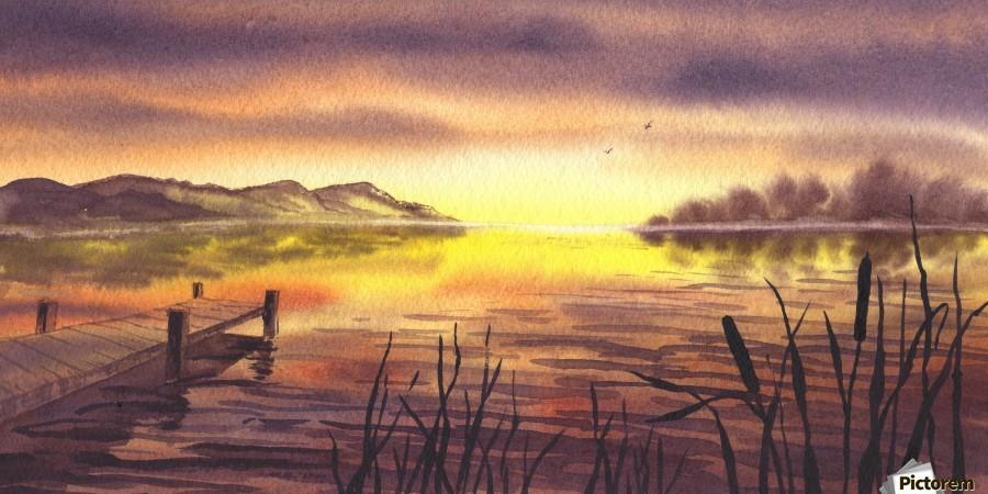 Peaceful Sunset At The Lake  Print