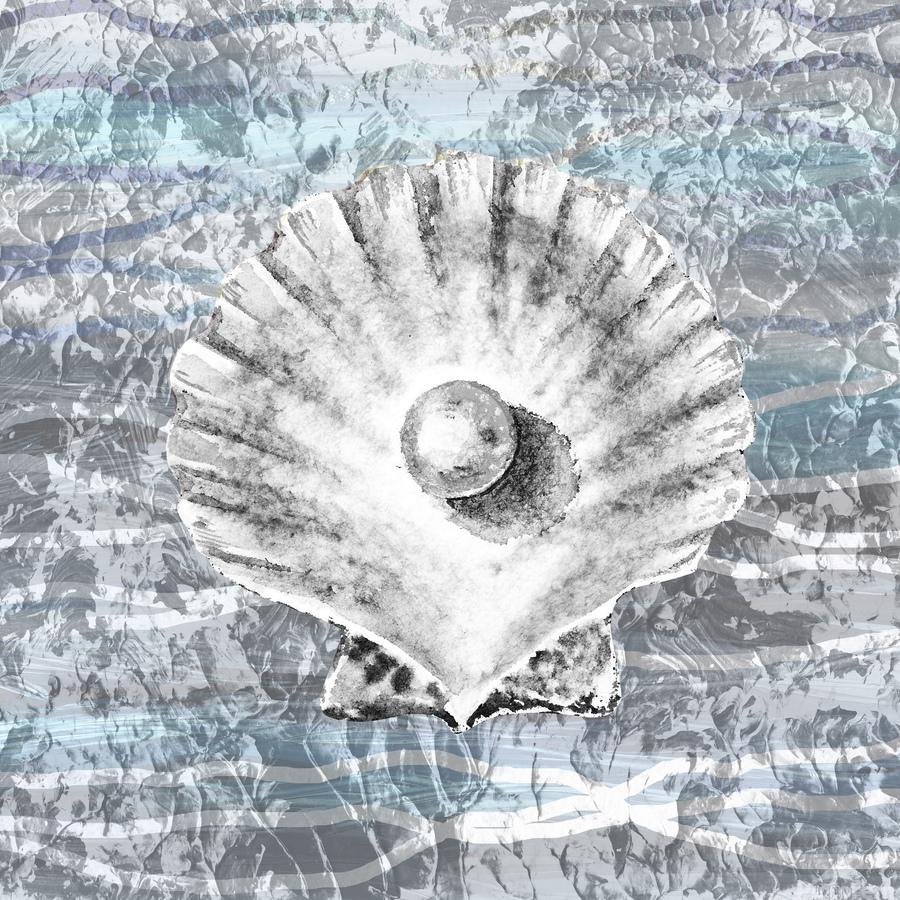 Silver Gray Seashell On Ocean Shore Waves And Rocks V  Print