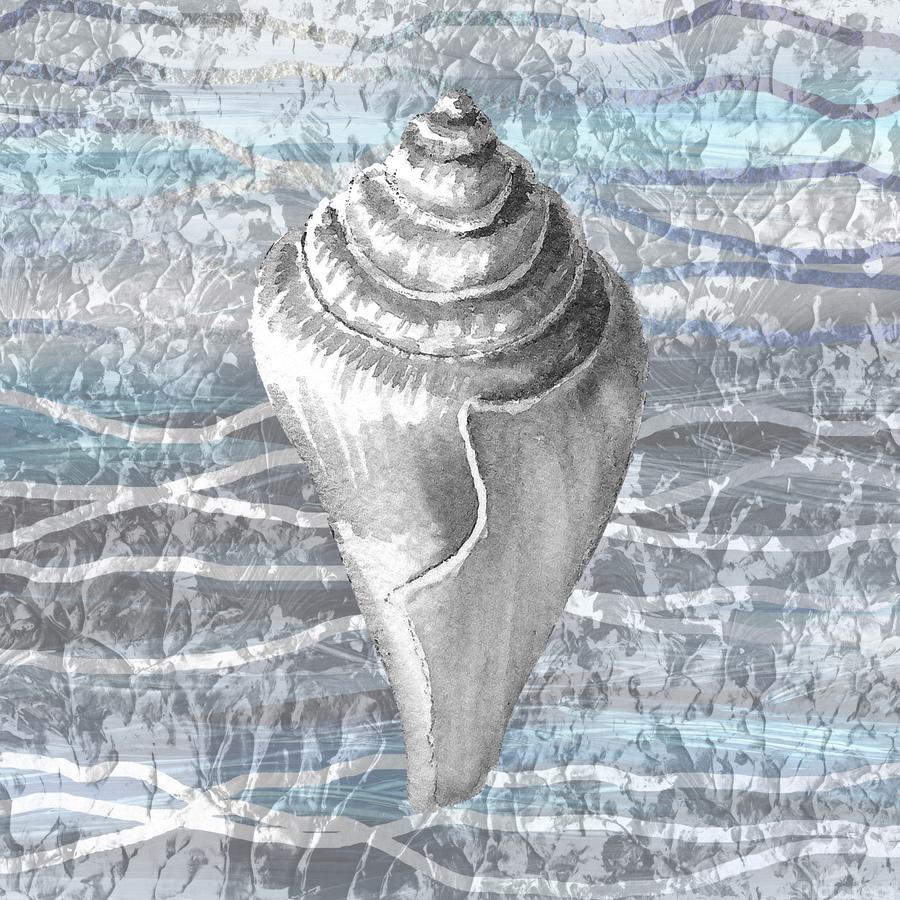 Silver Gray Seashell On Ocean Shore Waves And Rocks VII  Print
